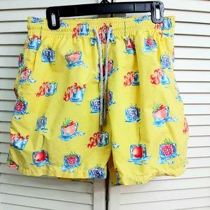 Vilebrequin Swim trunks Yellow Fruit Ice design XL